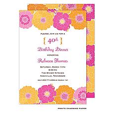 : Modern Floral - Pink and Orange Invitation