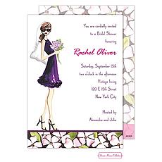 Floral Bride (Brunette) Invitation -