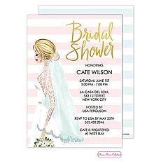 : Vintage Bride Stripes Invitation