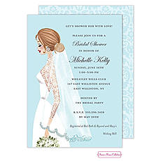 Vintage Veil Brunette Invitation -