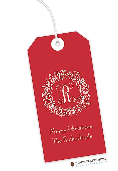 elegant holiday wreath on red hanging gift tag stacy claire boyd