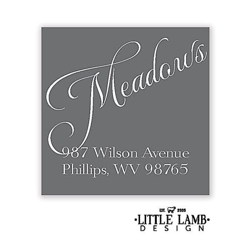 grey and white simple return address label printswell