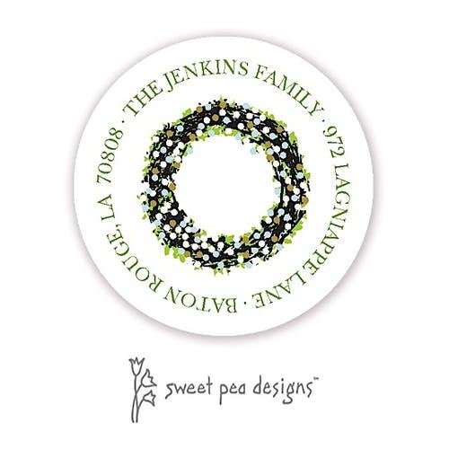 classic wreath blue and gold return address label sweet pea designs