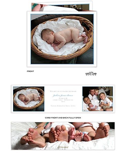 Tri Fold Photo Birth Boy Photo Birth Announcement Little Lamb Design