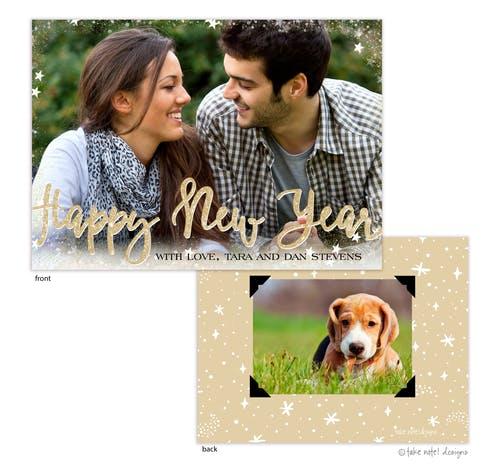 starry border happy new year holiday photo card