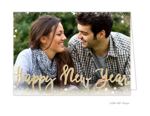 starry border happy new year holiday photo card