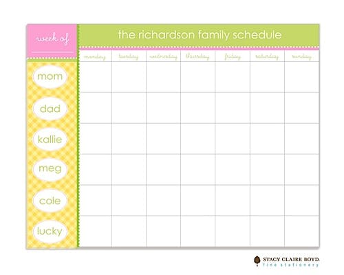 Yellow Gingham Weekly Scheduling Pad - PrintsWell