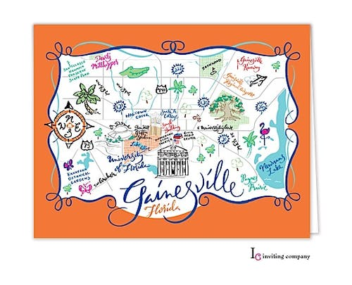 Gainesville Map Folded Note