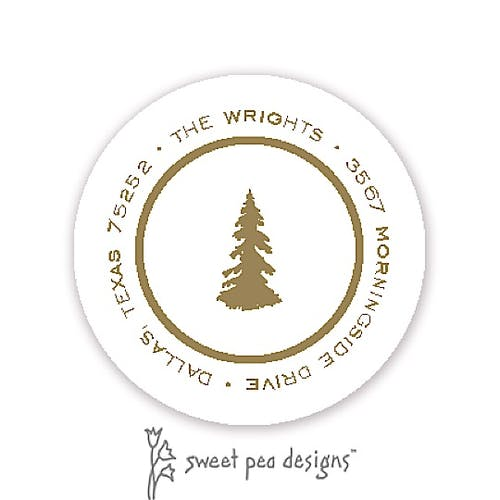 Address Label | Simple White And Gold Round Return Address Label Sweet Pea Designs